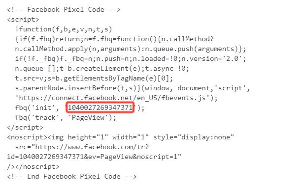 Voici à quoi ressemble le code du pixel Facebook