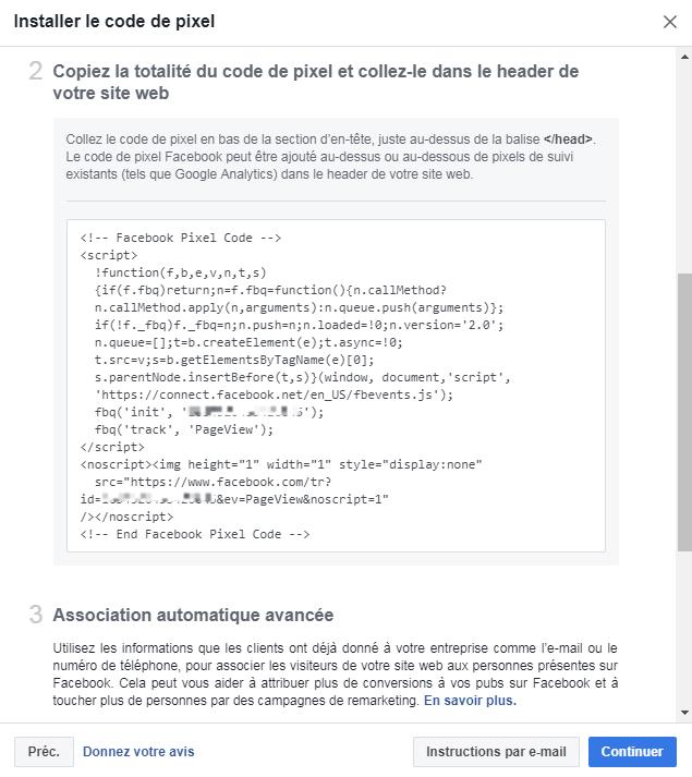Copiez le code du pixel Facebook
