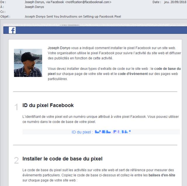Comment envoyer le code du pixel Facebook à un développeur