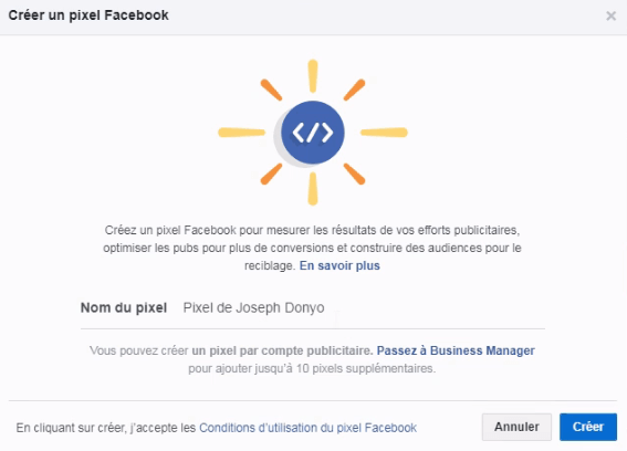 Generer mon pixel Facebook - écran2