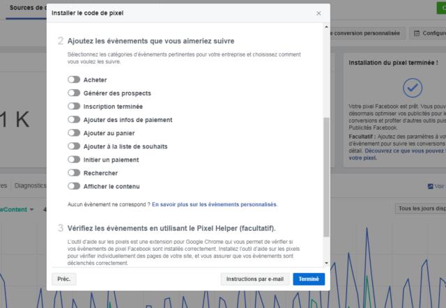 Facebook propose 9 évènements standards qui correspondent à la plupart des actions qui ont lieu sur un site web