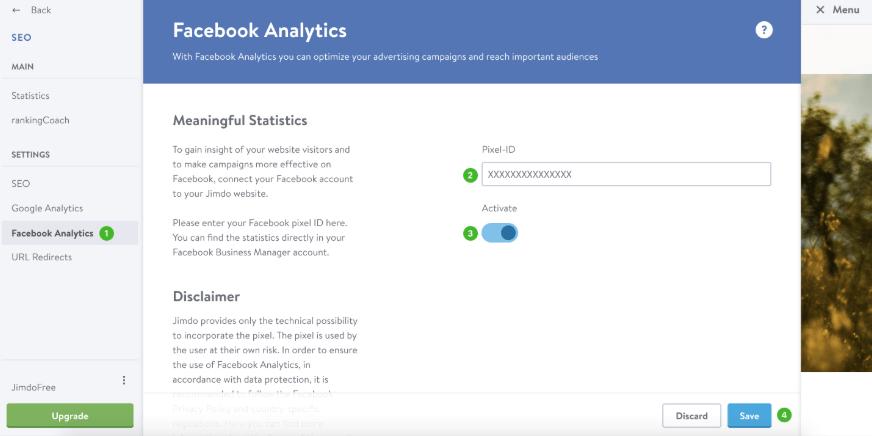 Intégration du pixel Facebook dans Jimdo