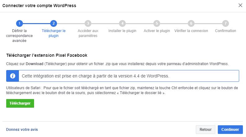 Télécharger l'extension Pixel Facebook pour WordPress